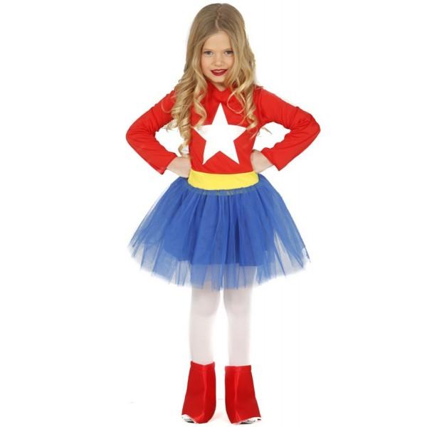 Disfraz de heroína Americana para niña