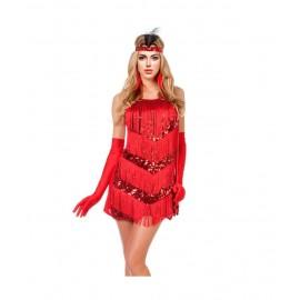 Disfraz Charleston rojo lentejuelas Mujer