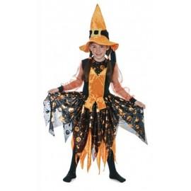 Disfraz Bruja Naranja Pitonisa Infantil Niña