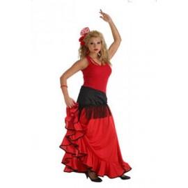 Disfraz Falda Rociera Roja Adulto